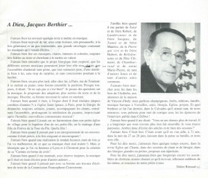 Adieu Jacques Berthier, Didier Rimaud