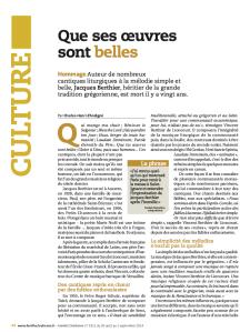 Article Famille Chrétienne, 31 aout 2014