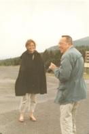 Jacques Berthier et sa fille, Christine d'Andigné, au Mont Gerbier des Joncs, 1989