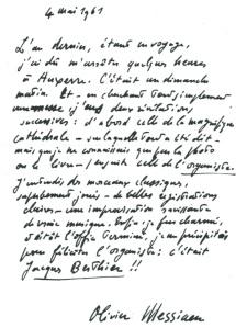 Lettre Messiaen
